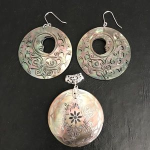Jewelry - Ornate Indonesian shell earrings and pendant 925